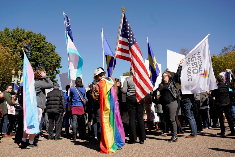 Image: Transgender rights activists protest at the White House in Washington