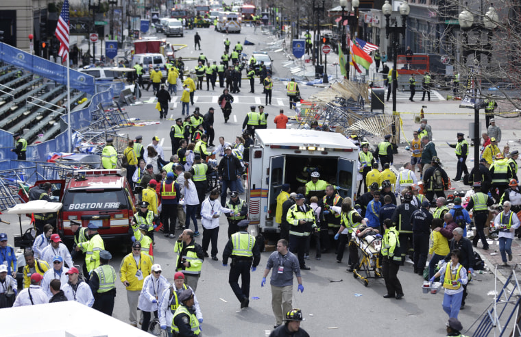 The finish line of the Boston Marathon after the bombing on April 15, 2013.