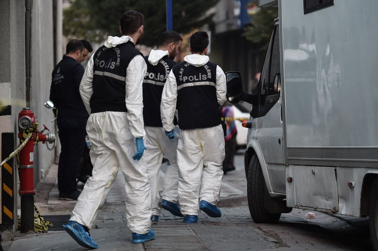 Turkish forensics leave an underground car park cordoned off by Turkish police, on Oct. 22, 2018 in Istanbul, after police found an abandoned car belonging to the Saudi consulate, three weeks after the murder of journalist Jamal Khashoggi in the Saudi consulate.