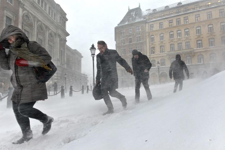 A winter scene in Stockholm.