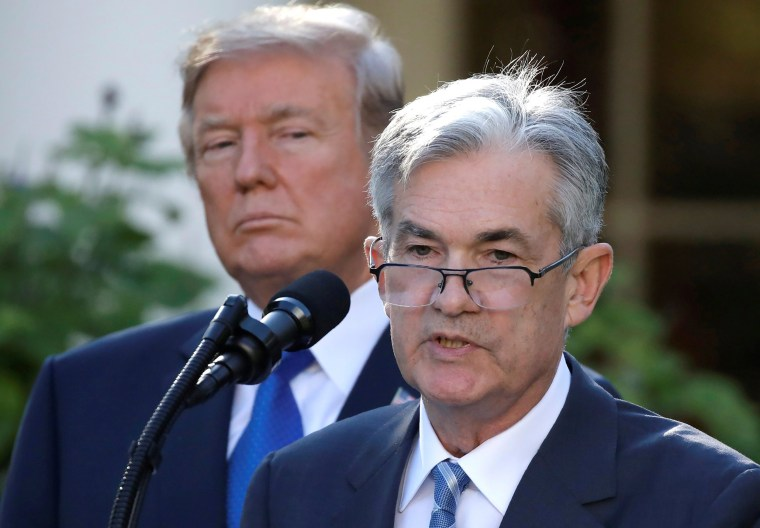 Image: President Donald Trump looks on as Jerome Powell, his nominee to become chairman of the U.S. Federal Reserve, speaks at the White House in Washington