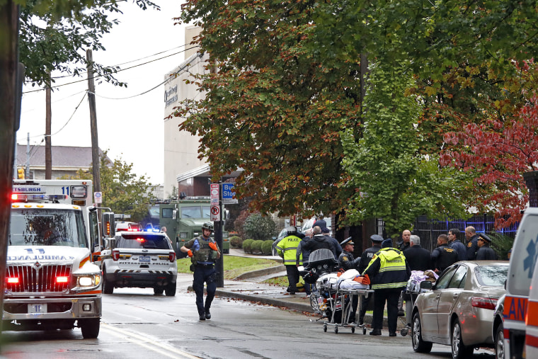 Image: First responders surround the Tree of Life Synagogue in Pittsburgh, Pennsylvania where a shooter opened fire on Oct. 27, 201.