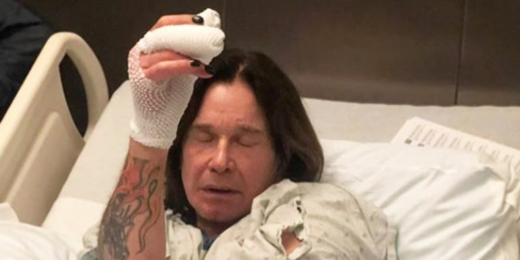 Ozzy Osbourne said his right thumb suddenly swelled to ten times its normal size. The diagnosis: a staph infection.