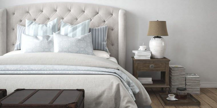 bedroom, gray and white bed, bedroom layout, bedroom organization, bed