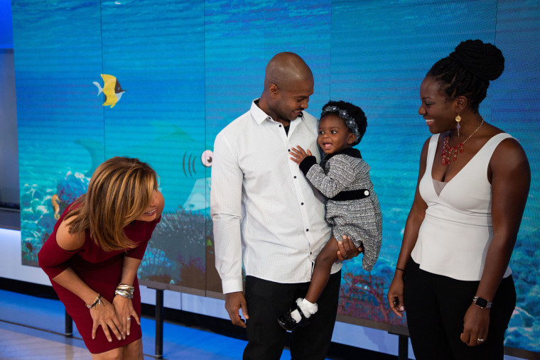 Hoda Kotb just couldn't get enough of Zoe Turner, seen here with dad Keith and mom Cryssy.