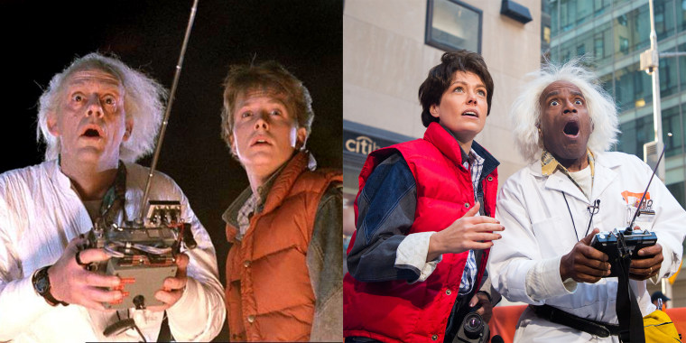 "TODAY show Halloween: Dylan Dreyer and Al Roker as ""Back to the Future"" characters Marty McFly and Doc Brown"