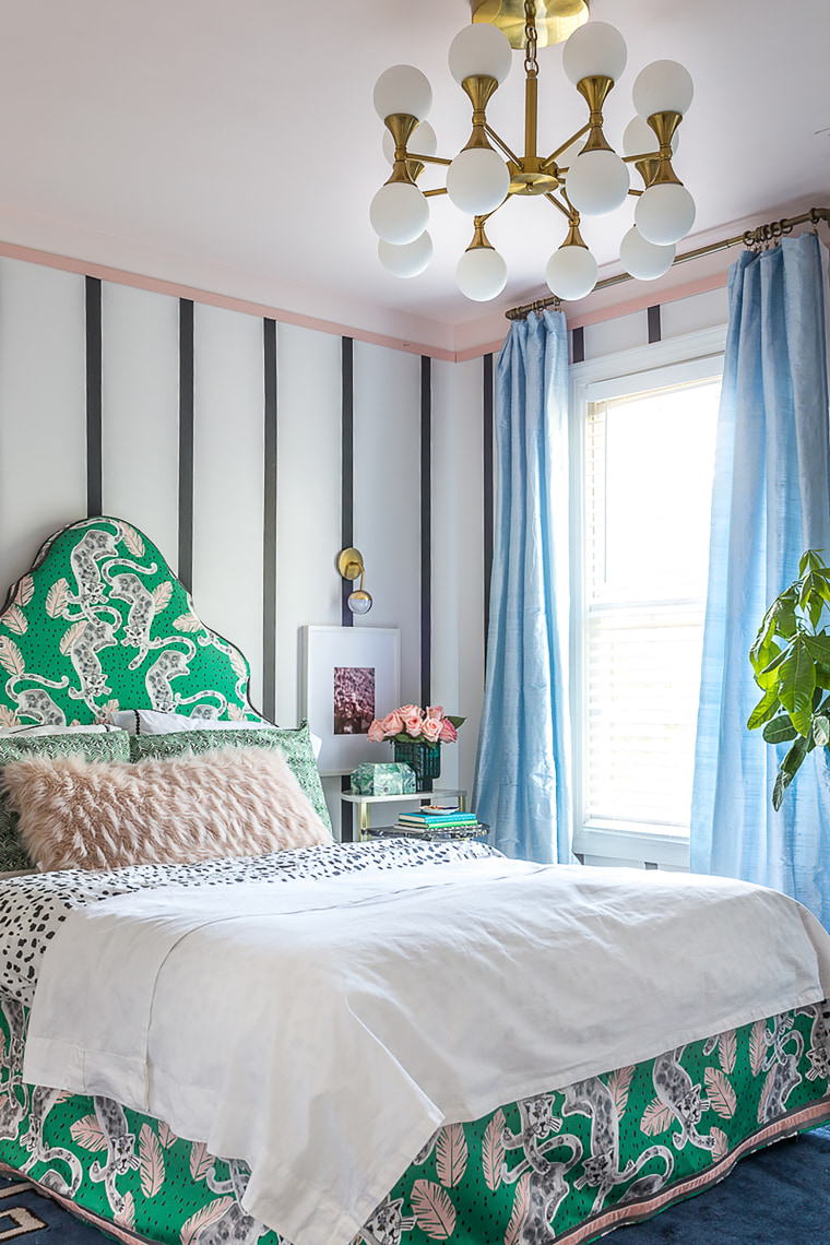 Striped bedroom before after