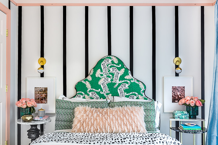 Before and After striped girls bedroom