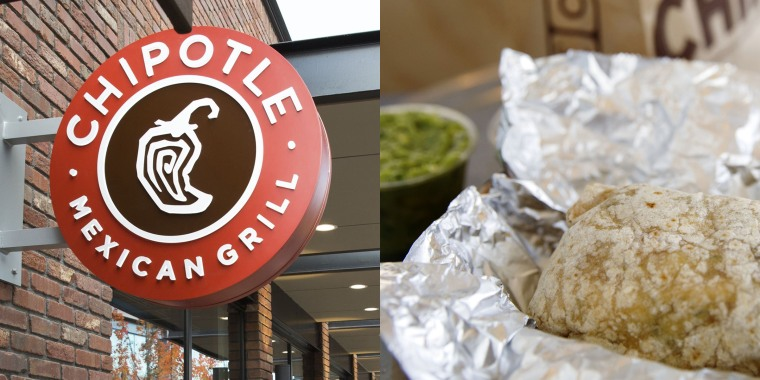 Chipotle sign and a burrito with guacamole