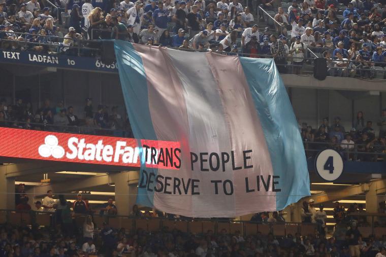 Image: pro-transgender banner at World Series
