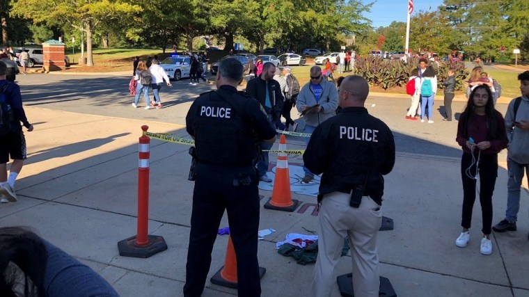 Police respond at the scene of a shooting at Butler High School in Matthews, North Carolina.