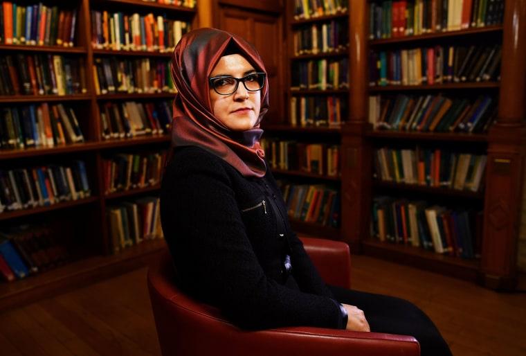 Hatice Cengiz, fiancee of slain Saudi journalist Jamal Khashoggi, is seen during an interview in London