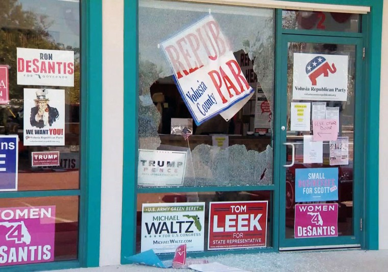 The windows of a Volusia County Republican Party office were shot at over the weekend