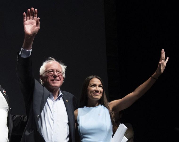 Image: Alexandria Ocasio-Cortez, Senator Bernie Sanders