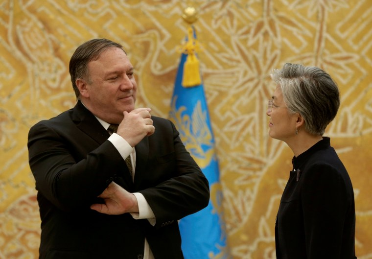 Image: FILE PHOTO: U.S. Secretary of State Mike Pompeo speaks with South Korean Foreign Minister Kang Kyung-wha at the presidential Blue House in Seoul