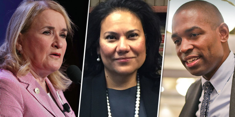 From left, Texas State Senator Sylvia Garcia, Judge Veronica Escobar and Antonio Delgado.