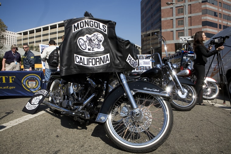 Motorcycles seized from the Mongols Motorcycle gang is on display during a press conference in Los Angeles on Oct. 21, 2008.