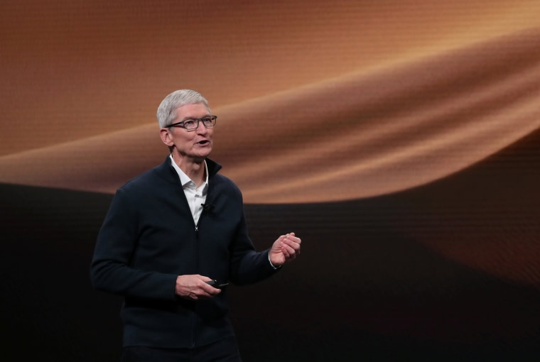 Image: Apple CEO Tim Cook speaks during an Apple launch event in the Brooklyn borough of New York