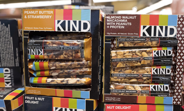 Kind snack bars on display at a supermarket in New York on Feb. 9, 2017.