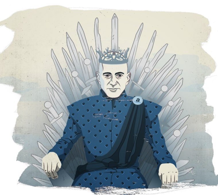 Amazon CEO Jeff Bezos on the Iron Throne as the leader of House Lannister.