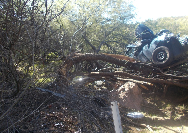 The car landed in a mesquite tree