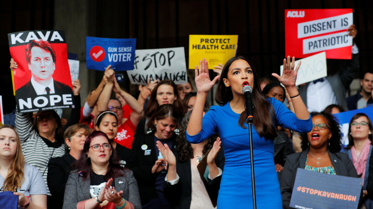 Image: Democratic Congressional candidate Ocasio-Cortez speaks at a really against Supreme Court nominee Brett Kavanaugh in Boston