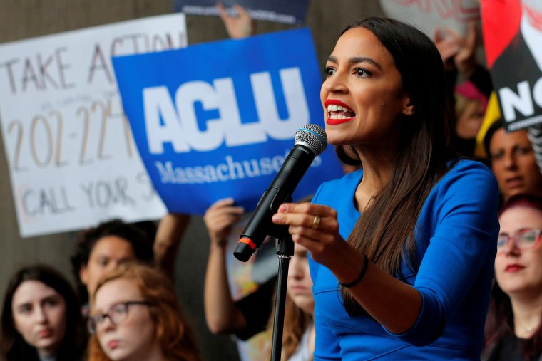 Image: FILE PHOTO: Democratic Congressional candidate Ocasio-Cortez speaks at a rally against Supreme Court nominee Brett Kavanaugh in Boston