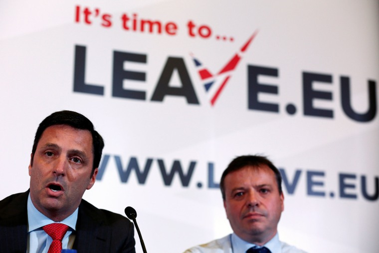 Image: Gerry Gunster, a Washington-based strategist hired by the Leave.EU campaign, speaks as he sits with Arron Banks, a British businessman, during a Leave.EU news conference in central London