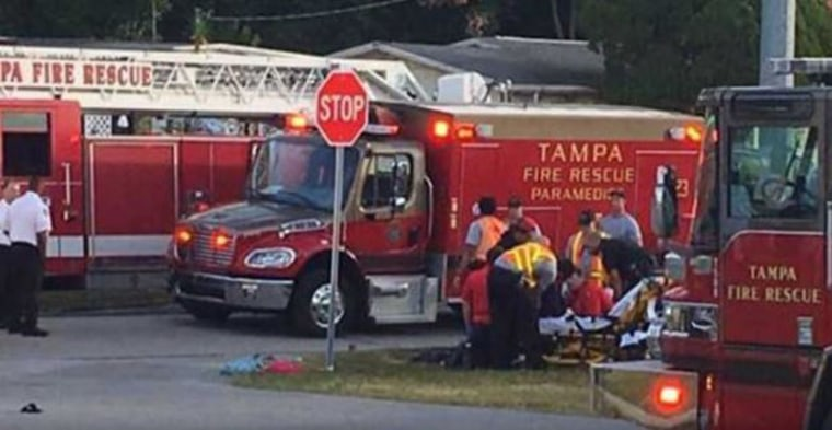 Three children and two adults were dropped by a vehicle at a school bus stop in Tampa on Thursday morning.
