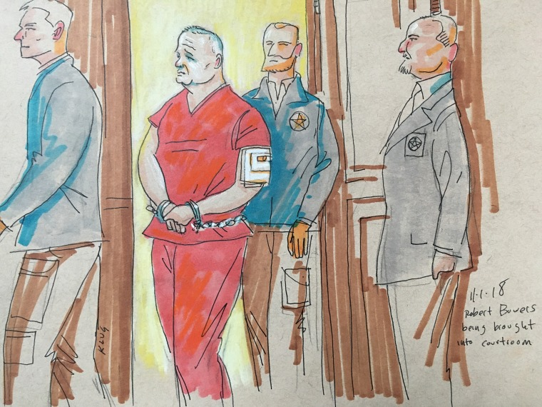 Robert Bowers is arraigned in court on Nov. 1, 2018 in Pittsburgh, Pennsylvania.