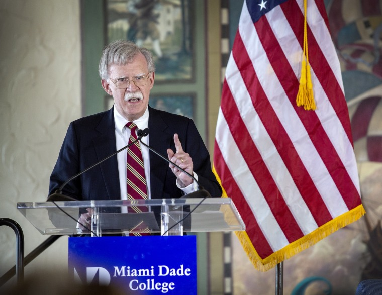 Image: US National Security Adviser John Bolton delivers remarks on the Trump Administration's policies in Latin America