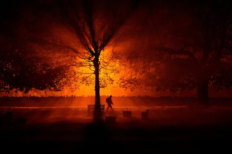Image: A man uses a torch to walk through a park during cold fog at night in Athboy