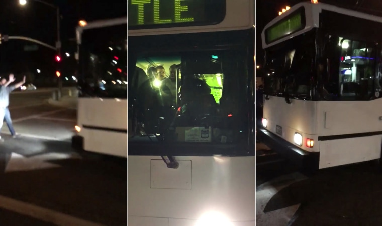 A shuttle bus driver in Long Beach, California wouldn't stop the bus, according to Lt. Robert Woods of the Long Beach Police Department.