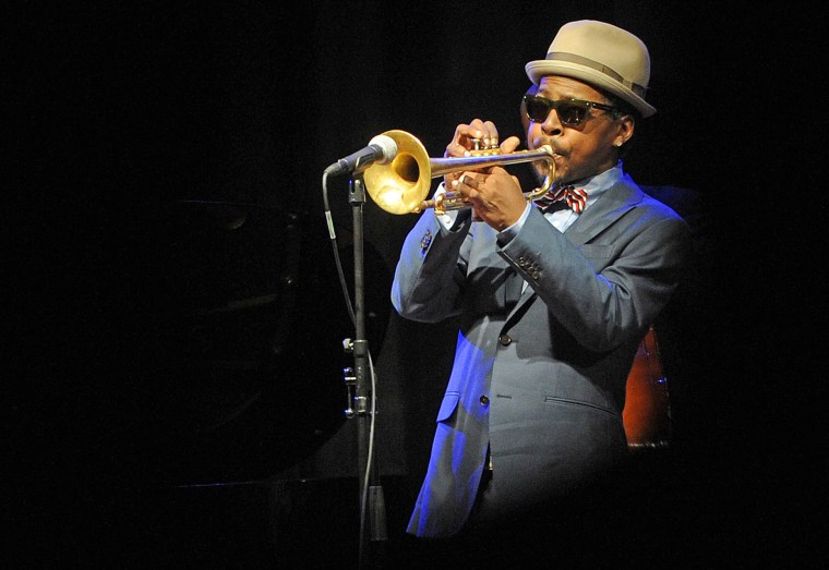 Image: Jazz trumpeter Roy Hargrove performs during the ''Jazz at Prague Castle'' concert at the Prague Castle on April 10, 2012.