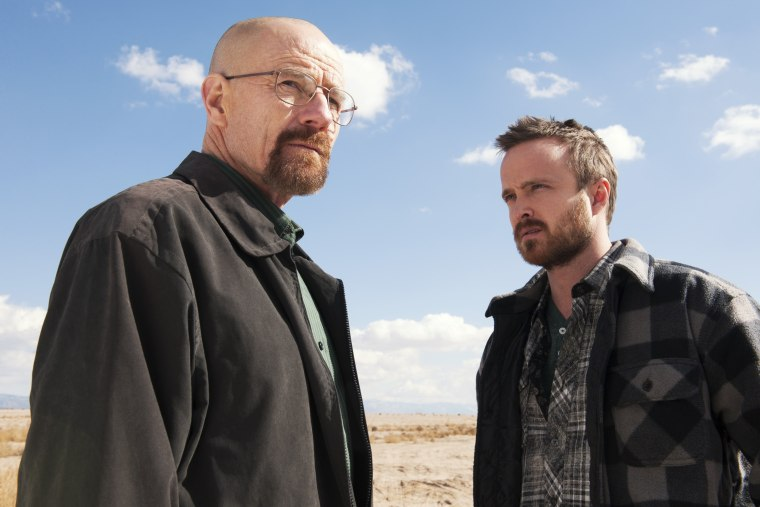 "Bryan Cranston as Walter White, left, and Aaron Paul as Jesse Pinkman in a scene from ""Breaking Bad."""