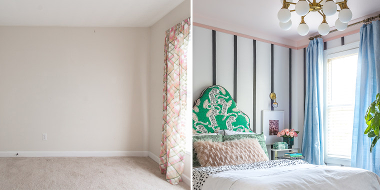 Striped Girl's bedroom before and after