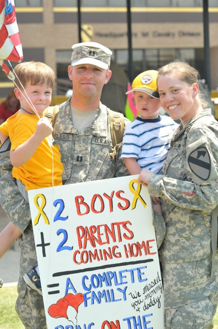 Megan Harless served as a Captain in the U.S. Army alongside her husband, Aaron, who is currently a Major and a Battalion Executive Officer. The two decided to deploy together to Iraq so they would reduce the amount of time they had to spend apart.