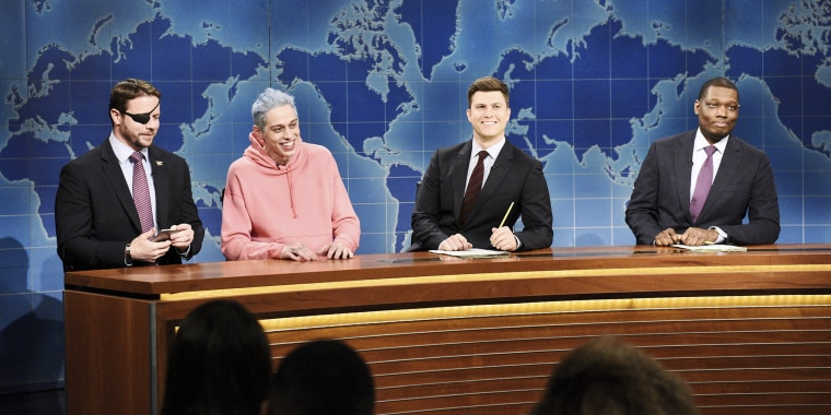 "Dan Crenshaw, Pete Davidson, Colin Jost and Michael Che on ""Saturday Night Live"""
