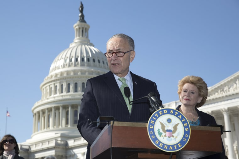 Image: Democratic Senators news conference to voice opposition to the American Health Care Act