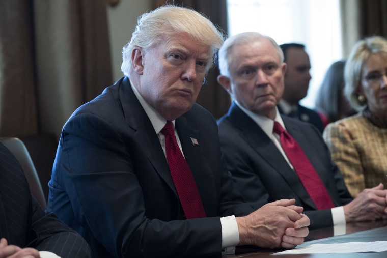 President Donald Trump and Attorney General Jeff Sessions attend a panel discussion on  opioid and drug abuse at the White House on March 29, 2017.