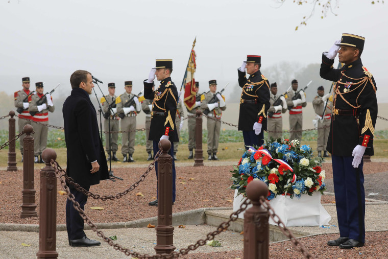Image: French President Emmanuel Macron arrives to attend a ceremony in tribute to French soldiers killed in August 1914 during border battles, in Morhange