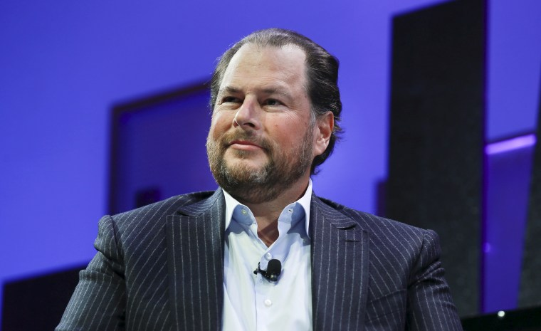 Salesforce CEO Marc Benioff during a panel discussion at the Fortune Global Forum in San Francisco
