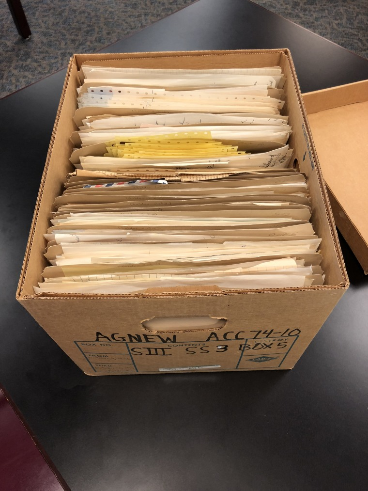 Box of records from the Spiro Agnew archive