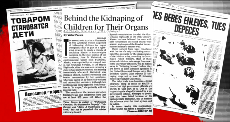 bogus headlines around the world appeared: The U.S. invented AIDS. Wealthy Americans were adopting children to harvest their organs.