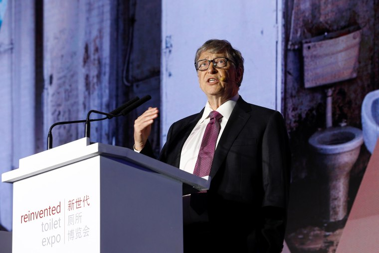 Image: Microsoft founder Bill Gates speaks during the opening ceremony of the Reinvented Toilet Expo showcasing sewerless sanitation technology in Beijing