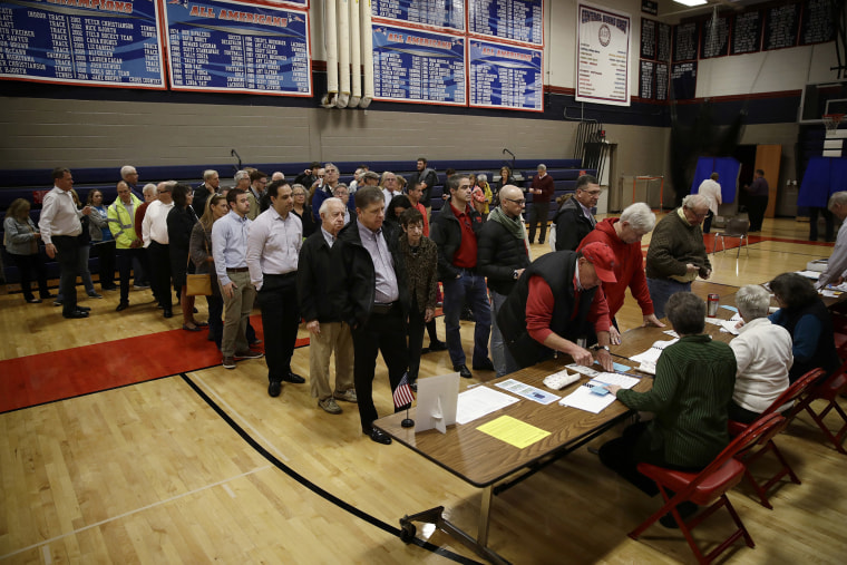 Image: Voters line up to vote at a polling place in Doylestown, Pa.