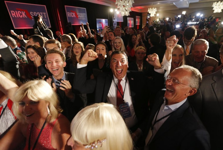 Image: Supporters of U.S. Senate candidate Scott react to news of Republican gubernatorial candidate DeSantis winning his election at Scott's midterm election night party in Naples, Florida