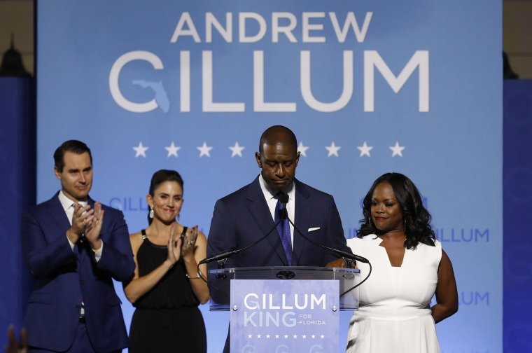Democratic gubernatorial candidate Gillum concedes the race at at his election night party in Tallahassee, Florida