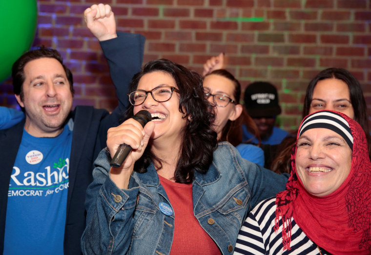 Image: Democratic U.S. congressional candidate Rashida Tlaib celebrates with her mother at her midterm election night party in Detroit,