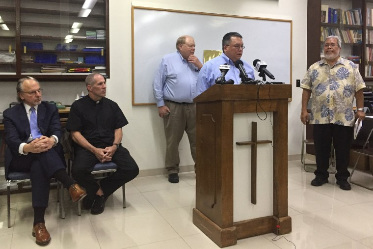 Image: Attorney Keith Talbot speaks at a news conference in Hagatna, Guam, where the Catholic Church in Guam announced that it will file Chapter 11 reorganization bankruptcy on Nov. 7, 2018.